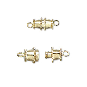 clasp, barrel, gold-plated brass, 10x5mm. sold per pkg of 10.
