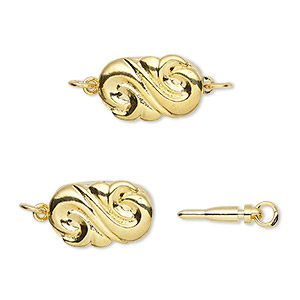 clasp, bullet, gold-plated brass, 15x10mm puffed ornate oval. sold per pkg of 4.