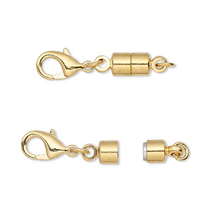 clasp converter, magnetic, magna clasp™, gold-plated brass, 25x6mm. sold per pkg of 12.