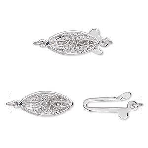 clasp, fishhook, diamond (natural) and 14ktw white gold, 17x7mm oval with cutout design and faceted round. sold individually.