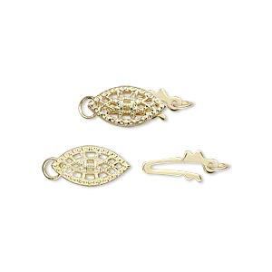 clasp, fishhook, gold-plated brass, 12x7mm oval with cutouts. sold per pkg of 2.