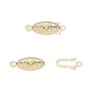 clasp, fishhook, gold-plated brass, 13x7mm filigree oval. sold per pkg of 100.