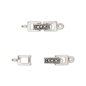 clasp, fold-over, marcasite (natural) and antiqued sterling silver, 16x5mm rectangle. sold individually.