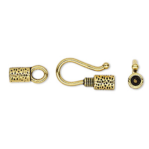 clasp, hook-and-eye, antique gold-finished pewter (zinc-based alloy), 27x9mm with glue-in ends and hammered tube with rope design, 2.5mm inside diameter. sold per pkg of 10.