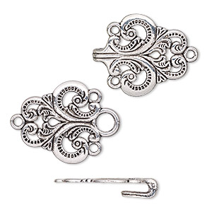 clasp, hook-and-eye, antique silver-plated pewter (zinc-based alloy), 59x28mm single-sided fancy. sold individually.