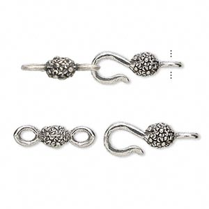 clasp, hook-and-eye, antiqued pewter (tin-based alloy), 26x8mm with flowers. sold per pkg of (4) 2-piece sets.