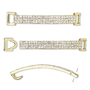 clasp, hook-and-eye, glass rhinestone and gold-finished pewter (zinc-based alloy), clear, 48x8mm single-sided curved rectangle, 5x2.5mm inside diameter. sold per 2-piece set.