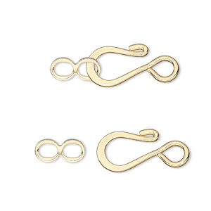 clasp, hook-and-eye, gold-plated brass, 12.5x8.5mm flat. sold per pkg of 500.