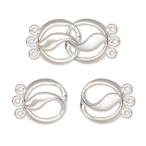 clasp, jbb findings, 3-strand hook-and-eye, sterling silver, 24x14mm circle. sold individually.