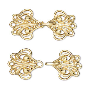 clasp, jbb findings, 3-strand hook-and-eye, vermeil, 30x16mm with baroque design. sold individually.
