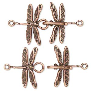 clasp, jbb findings, hook-and-eye, antique copper-plated brass, 32x21.5mm dragonfly. sold individually.
