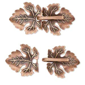 clasp, jbb findings, hook-and-eye, antique copper-plated brass, 45x22mm single-sided leaves with hidden loops. sold individually.