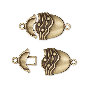 clasp, jbb findings, hook-and-eye, antiqued brass, 19x14mm single-sided oval with line and dot design. sold individually.