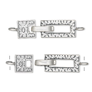 clasp, jbb findings, hook-and-eye, antiqued sterling silver, 26x8mm rectangle. sold individually.