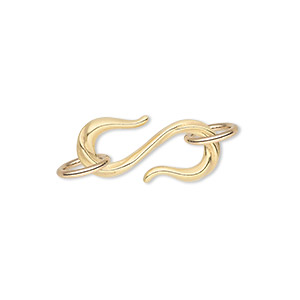 clasp, jbb findings, s-hook, gold-plated pewter (tin-based alloy), 22x10mm single-sided with line design and (2) 6-8mm jumprings. sold individually.