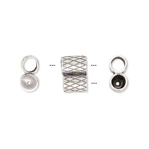 clasp, jbb findings, slide, antique silver-plated brass, 11x7.5mm textured double-round tube, fits 4mm cord. sold per 2-piece set.