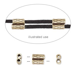 clasp, jbb findings, slide, antiqued brass, 7.5x6mm textured double-round tube, fits 1.5mm cord. sold per 2-piece set.