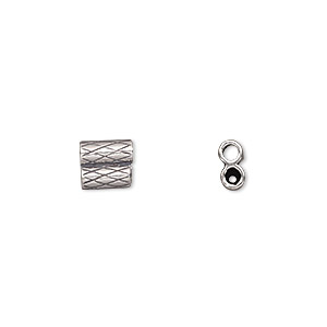 clasp, jbb findings, slide, antiqued sterling silver, 7x6.5mm textured double-round tube, fits 2mm cord. sold per 2-piece set.