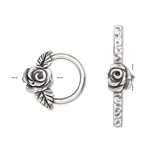 clasp, jbb findings, toggle, antique silver-plated brass, 17.5x16.5mm round with rose and leaves. sold individually.