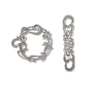 clasp, jbb findings, toggle, antique silver-plated brass, 28x26mm round with leaf design. sold individually.