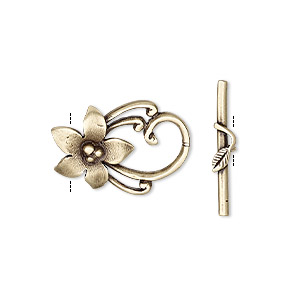 clasp, jbb findings, toggle, antiqued brass, 20x14mm flower. sold individually.