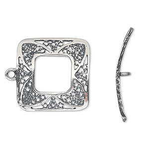 clasp, jbb findings, toggle, antiqued sterling silver, 22x22mm open filigree square. sold individually.