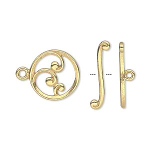 clasp, jbb findings, toggle, gold-plated pewter (tin-based alloy), 15mm single-sided round with wave crest design. sold individually.