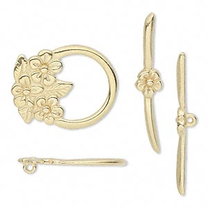 clasp, jbb findings, toggle, gold-plated pewter (tin-based alloy), 23x18.5mm single-sided flower. sold individually.