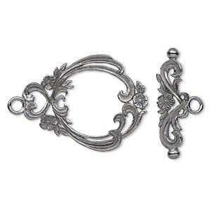 clasp, jbb findings, toggle, gunmetal-plated brass, 29.5x23mm with flowers and hearts. sold individually.