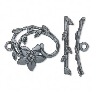 clasp, jbb findings, toggle, gunmetal-plated pewter (tin-based alloy), 24x22.5mm single-sided fancy flower. sold individually.