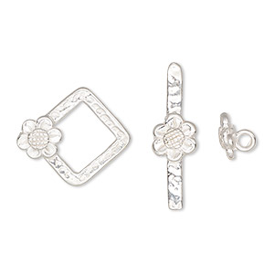 clasp, jbb findings, toggle, sterling silver, 18.5x16.5mm diamond with flower. sold individually.