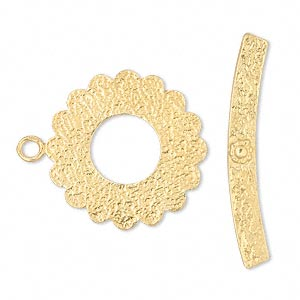 clasp, jbb findings, toggle, vermeil, 23mm flat flower. sold individually.