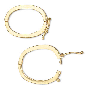 clasp, jbb findings, twister style with safety, vermeil, 24x17mm hinged oval. sold individually.
