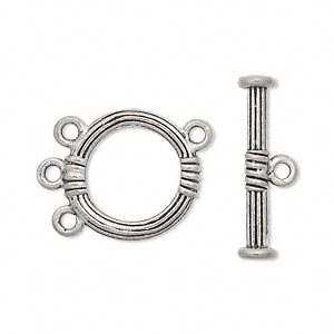 clasp, lariat style toggle, antiqued pewter (tin-based alloy), 18mm grooved round. sold per pkg of 2.
