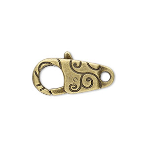 clasp, lobster claw, antique brass-plated pewter (zinc-based alloy), 24x12mm with double-sided swirl design. sold per pkg of 6.