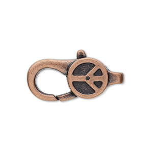 clasp, lobster claw, antique copper-plated pewter (zinc-based alloy), 27x12mm with double-sided peace sign design. sold per pkg of 4.