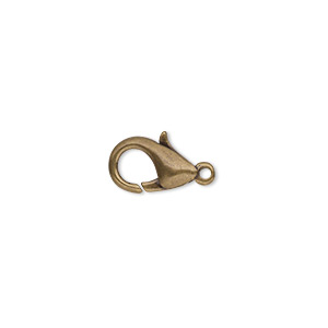 clasp, lobster claw, antique gold-plated brass, 12x7mm. sold per pkg of 10.