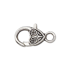 clasp, lobster claw, antique silver-plated pewter (zinc-based alloy), 20x13mm with double-sided fancy heart design. sold per pkg of 8.