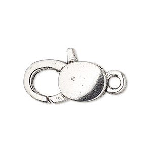clasp, lobster claw, antique silver-plated pewter (zinc-based alloy), 25x13mm with double-sided smooth design. sold per pkg of 6.
