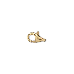 clasp, lobster claw, gold-plated brass, 10x6mm. sold per pkg of 10.