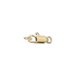 clasp, lobster claw, gold-plated brass, 12x5mm with jumpring. sold per pkg of 10.