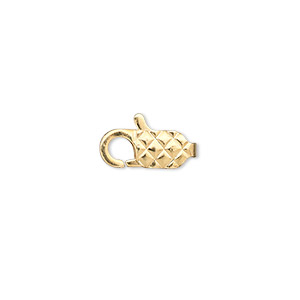 clasp, lobster claw, gold-plated brass, 13x6mm with diamond pattern. sold per pkg of 10.