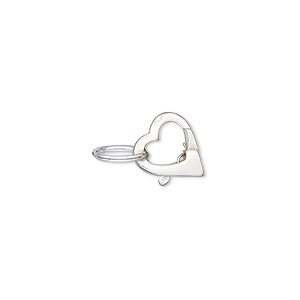 clasp, lobster claw, sterling silver, 11x9mm heart with jumpring. sold individually.