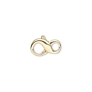 clasp, lobster claw, vermeil, 14.5x8.5mm infinity. sold individually.