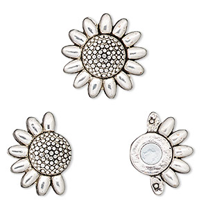 clasp, magnetic, antique silver-finished pewter (zinc-based alloy), 23mm sunflower with glue-in ends, 9x2mm inside diameter. sold individually.