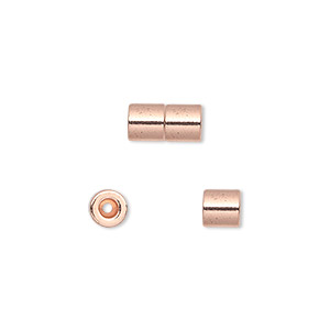 clasp, magnetic barrel, copper-plated steel, 10x5mm round tube with 1mm inside diameter. sold per pkg of 4.