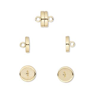 clasp, magnetic barrel, gold-plated steel, 8x4mm. sold per pkg of 10.