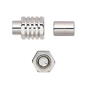 clasp, magnetic barrel, stainless steel, 15x10mm ribbed with glue-in ends, 6mm inside diameter. sold individually.
