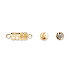 clasp, magnetic, gold-finished brass, 11x5mm corrugated oval. sold per pkg of 10.