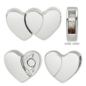 clasp, magnetic, imitation rhodium-plated pewter (zinc-based alloy), 28x17mm double heart with glue-in ends, 12x3.5mm inside diameter. sold individually.